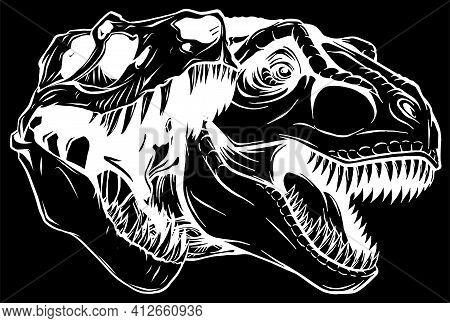 Tyrannosaurus Rex Skull Fossil Silhouette In Black Background Vector Illustration Design