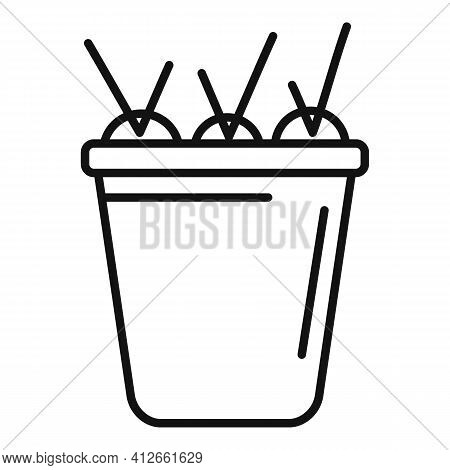 Full Carrot Bucket Icon. Outline Full Carrot Bucket Vector Icon For Web Design Isolated On White Bac