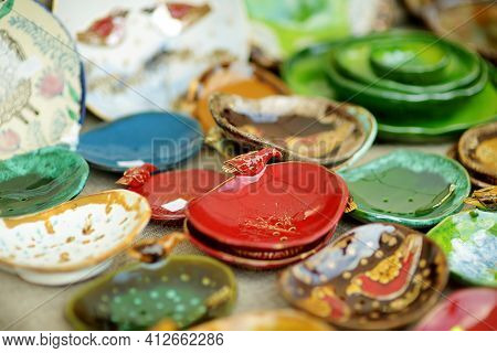 Ceramic Dishes, Tableware And Jugs Sold On Easter Market In Vilnius
