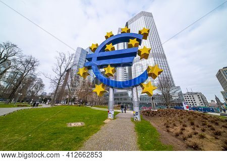 Giant Euro Symbol At Willy Brandt Square In Frankfurt - Frankfurt, Germany - March 11, 2021