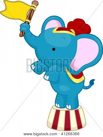 Cartoon Illustration of Circus Elephant waving a flag while balancing on top of a circus platform