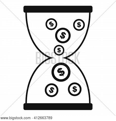 Money Hourglass Icon. Simple Illustration Of Money Hourglass Vector Icon For Web Design Isolated On