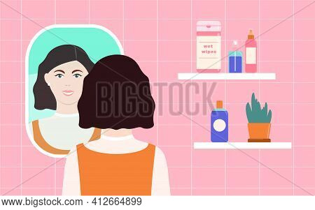 Girl In Bathroom Vector Illustration In Flat Design Young Brunette Woman Is Looking At Mirror In Her