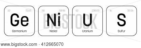 Genius Label. Quote Of Chemical Element Signs. Funny Vector Inscription