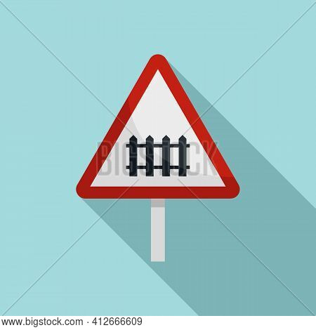 Railroad Sign Icon. Flat Illustration Of Railroad Sign Vector Icon For Web Design
