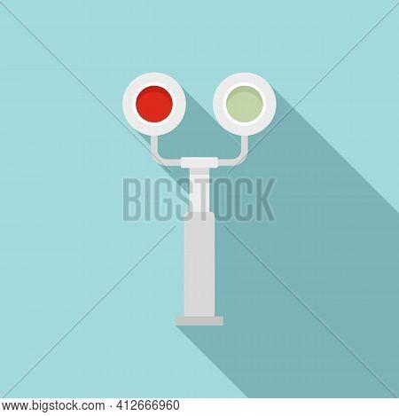 Railroad Traffic Lights Icon. Flat Illustration Of Railroad Traffic Lights Vector Icon For Web Desig