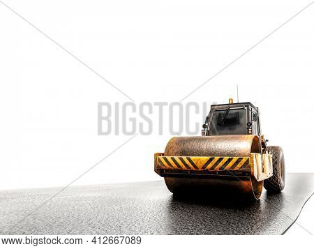 3d rendering of road roller leveling fresh asphalt pavement on white background