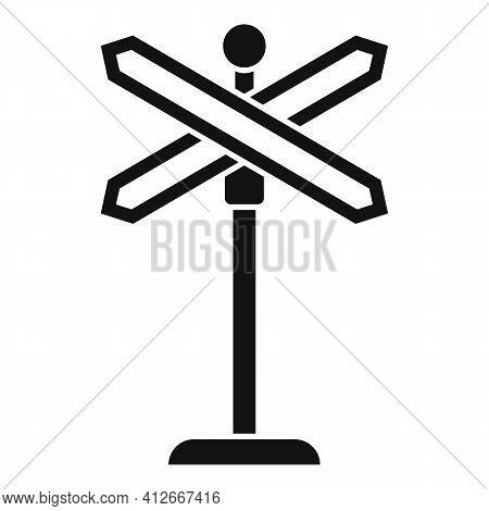 Railroad Crossing Icon. Simple Illustration Of Railroad Crossing Vector Icon For Web Design Isolated