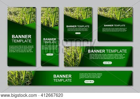 Set Of Modern Web Banners Template Design With A Place For Photos. Modern And Minimalist Concept Use