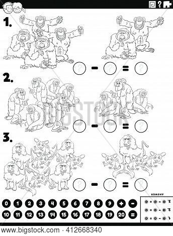 Black And White Cartoon Illustration Of Educational Mathematical Subtraction Puzzle Task For Childre