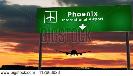 Plane Landing In Phoenix Arizona With Signboard