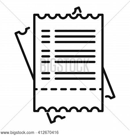 Tax Payment Bill Icon. Outline Tax Payment Bill Vector Icon For Web Design Isolated On White Backgro