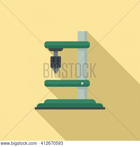 Construction Milling Machine Icon. Flat Illustration Of Construction Milling Machine Vector Icon For