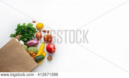 Delivery Healthy Food Background. Healthy Vegan Vegetarian Food In Paper Bag Vegetables And Fruits O