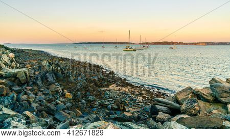View of Portland Harbor from Eastern Promenade Trail in Portland, Maine