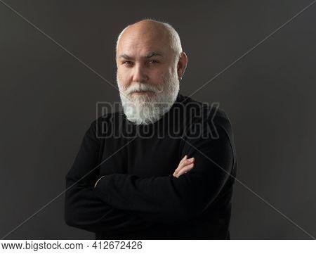 Grandfather, Grandpa. Man, 60 Year Old Man. Elderly, Old Mature Senior Closeup Portrait