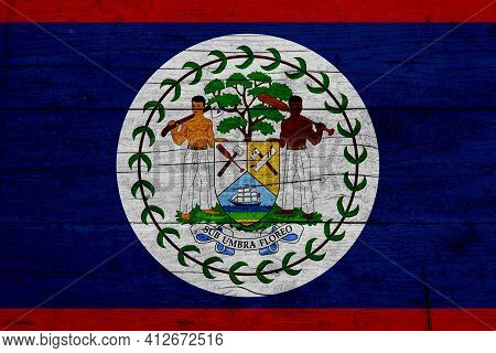 Flag Of Belize. Wooden Texture Of The Flag Of Belize.