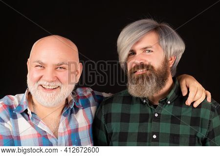 Happy Son And Old Dad. Generation Concept. Father And Son. Older Younger Generations. Two Smiling Me