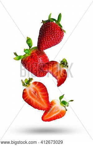 Tasty Ripe Red Strawberries And Strawberry Pieces Isolated On White Background. Strawberry Slices Fl