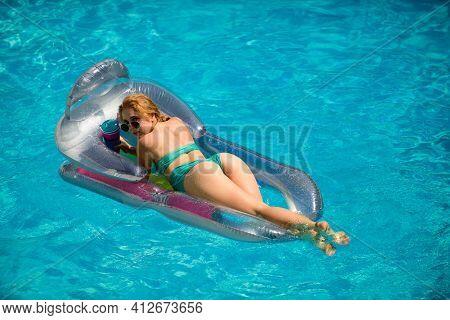 Sexy Summer Woman Butt. Girl Ass In Bikini. Summertime Woman Booty. Swimming Pool
