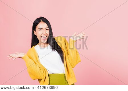 Happy Asian Portrait Beautiful Cute Young Woman Standing Winning And Surprised Excited Screaming Ope