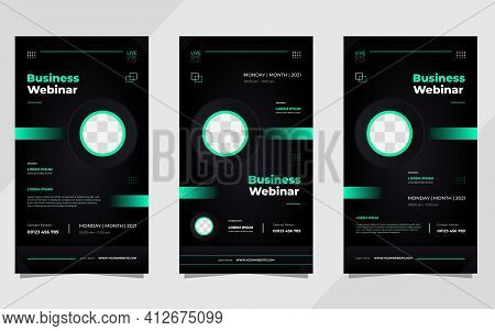 Set Of  Social Media Stories Post Template For Business Webinar, Digital Marketing, Conference Event