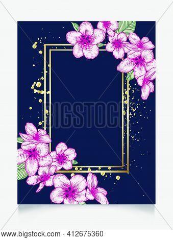 Vector Botanical Floral Wedding Invitation. Dark Blue Elegant Card Template With Pink Apple Flowers
