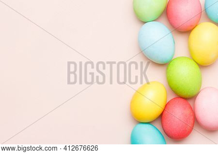 Happy Easter Card With Easter Eggs In Cream Colors. Minimal Easter Concept With Copy Space For Web B