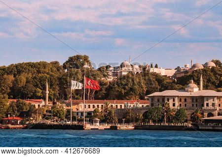 Istanbul, Turkey - 09 07 2020: View From The Waters Of Bosporus Strait On Basketmakers Kiosk With St
