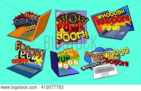 Comic Book Word Coming Out From A Laptop Screen. Comics Online Technology, Viral Marketing, Video Te