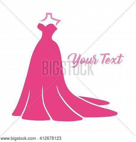 Bridal Wear Boutique Logo. Wedding Gown Sexy Dress Fashion Logo Design Vector Illustration