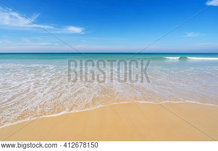 Tropical Beach In Summer Season At Karon Beach Phuket Thailand Concept Travel And Tour.empty Beach D