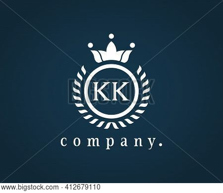 Letter Kk, K Heraldic Logo In Wreath, Round Frame. Elegant Monogram For A Card, Badge, Label, Antiqu