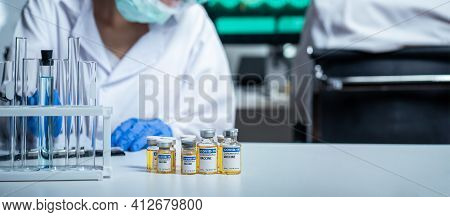 The Coronavirus Or Covid Vaccine Researched By Pharmaceutical Bio Research And Development Scientist