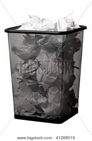 Garbage bin with paper waste, isolated on white background