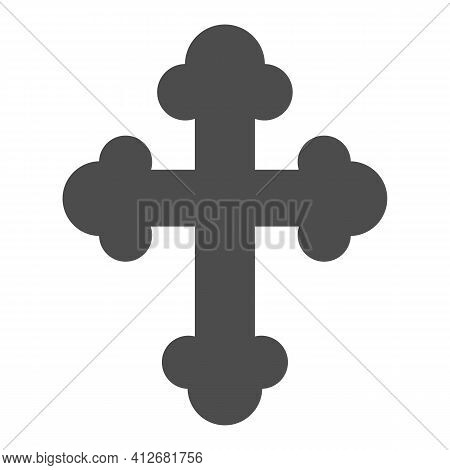 Orthodox Or Catholic Cross Solid Icon, Happy Easter Concept, Christian Symbol Of Crucifix On White B