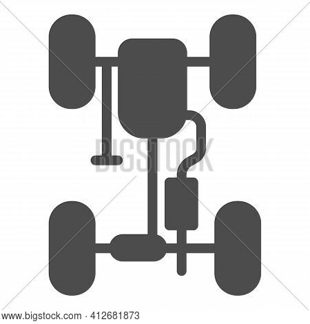 Car Chassis With Exhaust Pipe Solid Icon, Car Parts Concept, Steering Rack Sign On White Background,