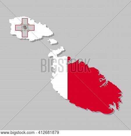 Highly Detailed Map Of Malta With Flag