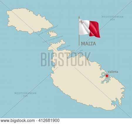 Highly Detailed Map Of Malta Territory Borders
