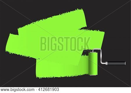 Green Paint Roller On Black Background. Repair Vector. Brush Painting. Interior Concept. Stock Image