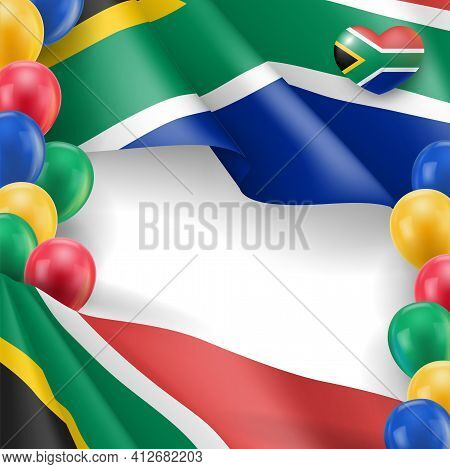 Festive Banner In National Flag Colors. South Africa Independence