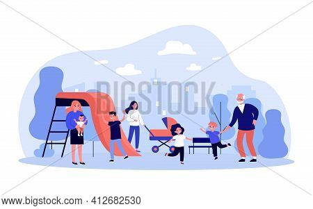 Happy Children With Moms And Grandfather Having Fun In Playground. Kids Playing In Park. Flat Vector