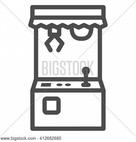 Toy Machine Line Icon, The Rides Concept, Crane Machine Sign On White Background, Crane Game Machine