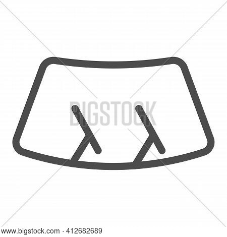 Car Windshield Line Icon, Car Parts Concept, Wiper Sign On White Background, Windshield Wiper On Gla