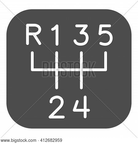 Five-speed Gearbox Solid Icon, Car Parts Concept, Car Transmission Sign On White Background, Gear Bo