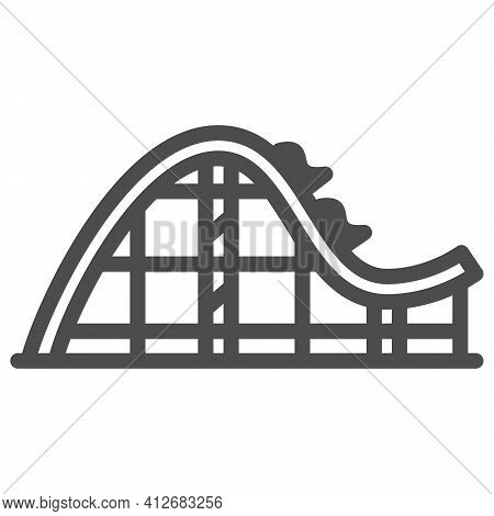 Rollercoaster Ride Line Icon, The Rides Concept, Extreme Roller Sign On White Background, Amusement