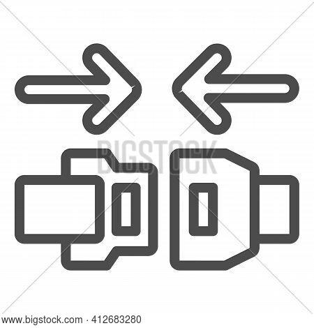 Fasten Seat Belt Line Icon, Car Parts Concept, Safe Belts Sign On White Background, Travel Seat Belt