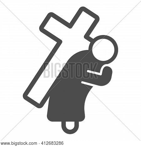 Jesus Christ With Cross Solid Icon, Happy Easter Concept, Easter Holiday Savior Sign On White Backgr