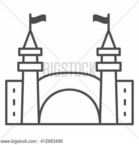 Gate To Amusement Park Thin Line Icon, The Rides Concept, Castle Silhouette Sign On White Background