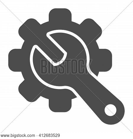 Gear And Wrench Solid Icon, Car Parts Concept, Service Sign On White Background, Wrench And Gear Ico